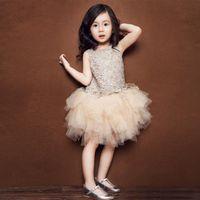 korea kids style - 2016 Summer korea style kids clothing goleden lace dress yarn dress vest dress Children s Day Performing dress princess dresses