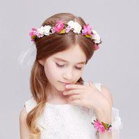 Wholesale Children s hair with glistening diamond feather accessories fashion novelty canvas patchwork floral herd wreaths flower head Flowers