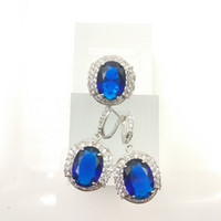 beautiful sapphire - The new jewelry Sapphire fashion beautiful set for women silver earrings ring size free jewelry boxe