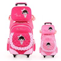 band book bags - children trolley wheels cartoon school bag books waterproof backpack with detachable for girls class grade Band packet