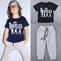 beatles baby shirt - 2016 Baby The Beatles print casual cloth set Kids boys sports outfit sets short sleeve T shirts pants suits sets