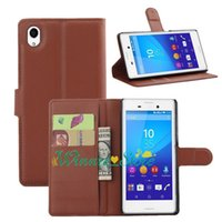 aqua patterns - For Sony xperia M4 AQUA PU Leather Wallet Stand Litchi Pattern Case Cover With Card Slot Touch Pen