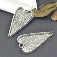 Wholesale Vintage tibetan silver heart charms cabochon metal pendants fit diy necklace jewelry sentting