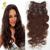 achat en gros de extensions de cheveux clip mix-100% cheveux humains brésilienne vague de corps clip dans les cheveux Extensions 7PCS complet Head Set 16