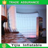 Wholesale ft print your logo white inflatable wall with led strip for wedding event