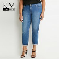 Wholesale Kissmilk Plus Size New Fashion Women Cotton Blue Denim Street Style Casual Big Size Clean Finish Pants XL XL XL XL
