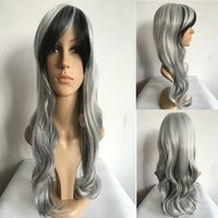 Cheap 2 Tones Grey Mixed black Highlights Wigs Long Curly Full Natural Women Heat Resistant Hair Custom Party Wig with Side bangs +Wig c