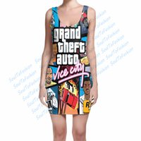 auto city - Custom Made Grand Theft Auto Vice City D Sublimation Print Milk Silk fashion summer women mini sleeveless Dress