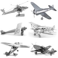 adult puzzles online - 3D Metal Picture Puzzle online Early Educational Toys Aircraft Fighter Helicopters Model Jigsaw Puzzle Plane Tangram Kids Toys For Boy Adult