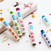 Wholesale 10pcs Creative Expression Stamp Seal Pen Watercolor Marker Pens Cute School Office Supplies Papelaria