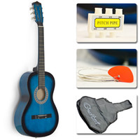 Wholesale New Beginners Acoustic Guitar With Guitar Case Strap Tuner and Blue