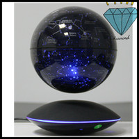Wholesale 10 dhl free new magical magnetic floating inch led light starry globe with ufo base maglev floating with induction