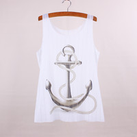 anchor apparel - Anchor print women top tees new come summer dress new arrival female tanks new fabric clothing customized apparel mixed order