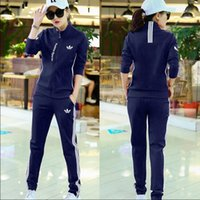 american korea - 2016 Korea autumn sports suit female two piece size loose long sleeved casual sportswear slim trousers jog tide clothing Multi style choic