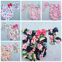 Cheap Kids Rompers Headbands set Toddler baby girls Clothing Set Cut summer Kids Jumpsuit baby Romper with Bow 100pcs KKA504