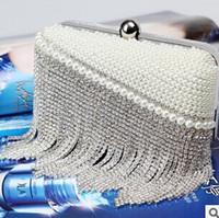 Precio de Señoras monederos moldeado-Borla de cristal de la perla de las mujeres bolso de la tarde bolsos de embrague del día caso duro de cuentas de la caja de la señora bolsos de hombro pequeños bolsos