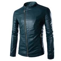 Wholesale Fall European Style Fashion Design Oblique Washed Men Leather Jacket Zipper Decoration Solid Long Sleeved Men Jacket Coat Color