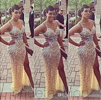 beaded things - Sparkling Stunning Sexy Evening Dresses Spaghetti Major Beading with Crystal High Thing Side Backless Amazing Prom Party Gowns