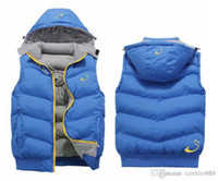 Wholesale NK Winter Mens Vests Coats Outerwear Cotton Padded Vests men Sport coat Hooded Padded Size XL XL Colors Winter sales