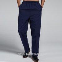 Wholesale Dark blue Traditional Chinese style Men s Pure Cotton Kung Fu Trousers Martial Arts Pants Size M L XL XXL XXXL X509
