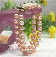 Wholesale 2 strand mm pretty beautiful natural pink pearl bracelet quot k