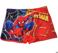 Wholesale Hot retail new summer style children wear Swim trunks cartoon spiderman superman pattern kids boys Swimming pants
