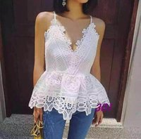 Wholesale 2016 summer new womens sexy openwork lace halter sleeveless blouse fashion elegant white camisole woman deep V neck summer camisole