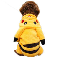 Wholesale Poke Dog Clothes Pikachu Hoodie Poke Go Dog Plush Coat Jumper Outwear Dog Costume Pikachu Fancy Outfit Winter Dog Clothes