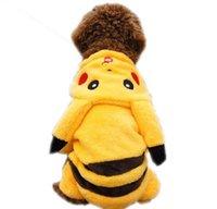 Wholesale Poke Dog Clothes Pikachu Hoodie Poke Go Dog Plush Coat Jumper Outwear Dog Costume Pikachu Fancy Outfit Winter Dog Clothes