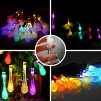 Wholesale Solar String Light ft LED Rain Drop Waterproof Outdoor String Lights Solar Powered Globe Fairy Starry Lights for Garden Yard Home