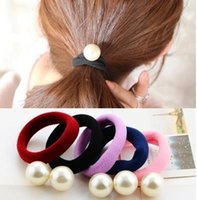 Wholesale Han edition hair rope hair foundation base band super elastic thick hair bands pearl jointless rope