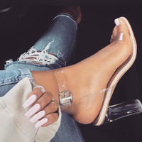 adhesive images - Kim Kardashian PVC Women Sandals Ankle Strap Round Clear High Heels cm Real Images Hot Sexy Party Sandals Transparent Plastic Perspex Heel
