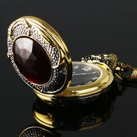 Montre grenat Avis-Collier de poche en or gros-Vintage Montre Homme Mal dragon New Golden Case Tone Big Red Crystal Retro Red Garnet Inset Luxe Cadeau de Noël