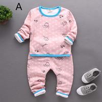 baby thermal shirt - Children Clothing Sets thermal underwear Baby boys pajamas suits Girls Clothing Sets sleepwear kids cotton set shirts trousers