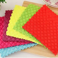 Wholesale High efficient Anti Greasy color dish cloth colorful washing dish towel magic Kitchen cleaning cloth wiping rags