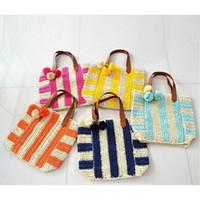 straw beach bag - 2016 Striped Straw Bag Navy Wind Hairballs Pendant Bag Summer Weaving Woven Beach Bag High Quality Travelling Bag Bolsa Feminina