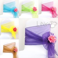 Wholesale Wedding Favor Sheer Organza Chair Cover Sashes Band cm x cm Ribbons Bow for Wedding Banquet Chair Covers Hotel Decoration Decor