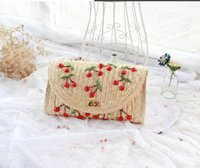 beach hand bags - 2016 Summer New Cherry Straw Messenger Bags Straw Woven Day Clutch Flap Bag Beach Package Crossbody Chain Hand Bags