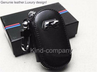 Wholesale 1pcs auto truck vehicle Car Black Leather R Remote Key Bag Case Holder Cover For Volkswagen
