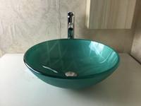 Wholesale Ultra white glass toughened glass Round washbasin Hand painted art washbasin Bathroom basin Flat top basin faucet N
