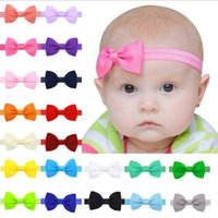 Wholesale Baby Small Bow Headbands Infant Kids Solid Color Headbands Euro America Hot Sale Baby Hair Accessories Plain Bow Headbands