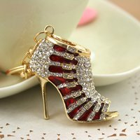 accessories for women shoes - Zinc alloy Crystal High Heel Shoe Keychain Key Rings Car Accessories D Fashion Women Keychain For The Keys Chaveiro PWK0035