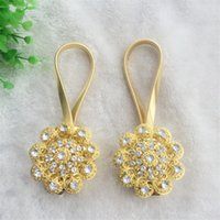 Wholesale New European flower Magnetic Curtain Buckle Rhinestone Diamond Tie Back Straps Tieback Clips Holders Home Decoration