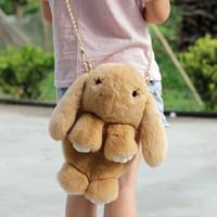 Wholesale 2016 New Lovely Genuine Rex Rabbit Fur Girls Handbag Shoulder Bag Purses Dolls