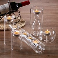 Wholesale Stunning set Glass Candle Holders Cylinder ball tube for candle wedding party table centerpieces