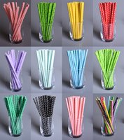 Wholesale 25 Polka Dot Paper Drinking Straws Kids Birthday Wedding Decoration Party kitchen drinking straws with multi colors for choosing