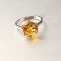 Cheap Genuine Citrine Round 10mm 925 Sterling Silver Ring White Yellow Rose Gold Plated Natural Crystal Jewelry Gemstone for Women Wedding Gift
