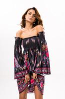 Wholesale Strapless Indian Dress - Bohemia Summer Dress Sweet Lolita Sexy Women's Ice Silk Dress Style Indian Totem Long-sleeved Boho Dresses Free Size