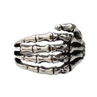 african tribe jewelry - Stainless Steel Jewelry Skeleton Hand Ring Cool Punk Tribe Gothic Ghost Biker Band Skull Silver Size for Men and Women