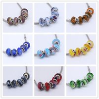 Wholesale Wholesales Mix Two Colors Murano Glass Crystal Faceted Rondelle Spacer Big Hole Charms Beads For Making European Jewelry Bracelet